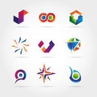 Conjunto de logotipo de negócio colorido abstrato ícone símbolo de sinal vetor