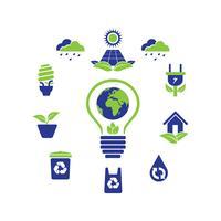 Coleção de Design do ícone Eco Green Logo
