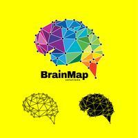 Logotipo colorido moderno da conexão do cérebro vetor
