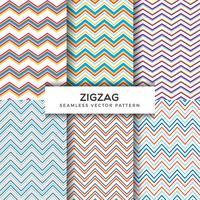 Coleção de padrões de vetores sem costura zig zag