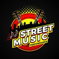 Emblema do símbolo do logotipo do desempenho da música da rua do país vetor