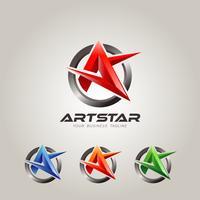 Carta colorida A Logo Set