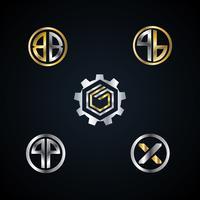 Conjunto de coleta de logotipo de letra de Metal de ouro prata abstrata ícone de símbolo de sinal