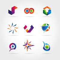 Conjunto de logotipo colorido abstrato sinal símbolo ícone vetor