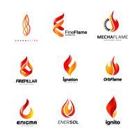 Coleção de design de logotipo de negócios de fogo