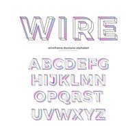 Design de tipo de fonte de alfabeto de wireframe cor vetor