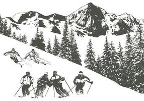 Pacote de vetores de esqui na neve