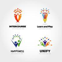 Conjunto de Design de logotipo do parceiro de pessoas criativas