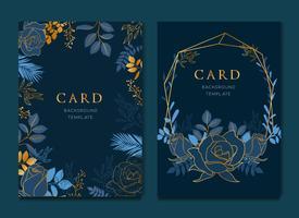 Cartão azul marinho com modelo de casamento de folhas douradas vetor