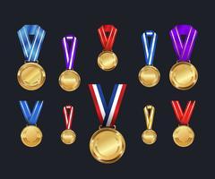 Conjunto de medalhas e fitas. Cores diferentes. Ilustração vetorial