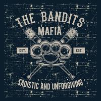 junta de emblema do logotipo do estilo vintage grunge com taco de beisebol, bandidos mafia mão desenho vetorial