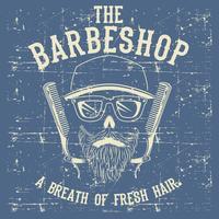 Caveira Vintage Barber Shop Logo Design modelo ilustração em vetor Clip Art