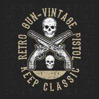 vetor de desenho de mão de pistola e crânio vintage estilo grunge