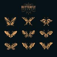 vetor de conjunto de ornamento de borboleta