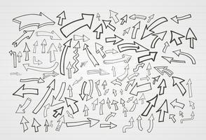Conjunto de elementos de setas de mão desenhada vector