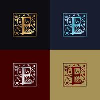 Letra e logotipo decorativo vetor