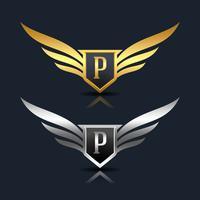 Modelo de logotipo de escudo de asas P vetor