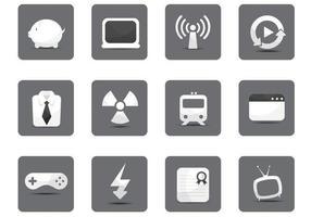 Pacote de vetor de diversos ícones branco