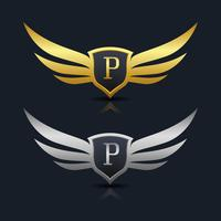 Logomarca da letra P vetor