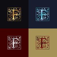 Logotipo decorativo da letra F vetor