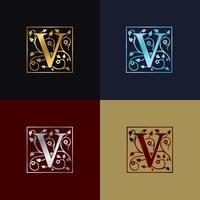 Logomarca decorativa letra V vetor