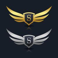 Escudo de asas letra S logotipo modelo vetor