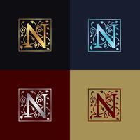Logotipo decorativo da letra N vetor