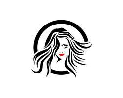logotipo de mulher e rosto de cabelo e símbolos vetor