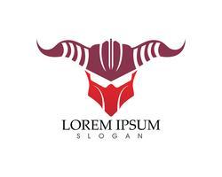 Logotipo de warior de máscara de gladiador e modelo de símbolos vetor
