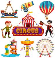 Conjunto de elemento de circo vetor