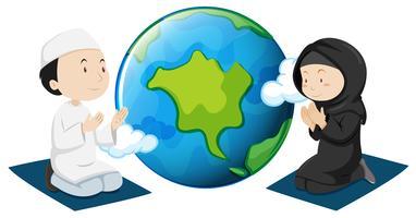 Muçulmanos orando ao redor do mundo vetor