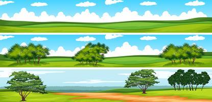 Cena, com, árvores, em, a, campo vetor