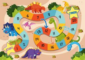 Modelo de jogo de tabuleiro de dinossauro plana vetor