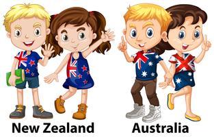 Crianças da Nova Zelândia e Austrália vetor