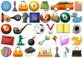 Grande conjunto de objetos diferentes vetor