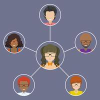 Pessoas conectadas umas com as outras vetor