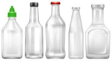 Conjunto de garrafa transparente vetor