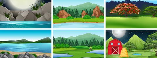 Conjunto de paisagem rural vetor