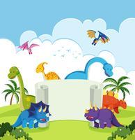 Dinossauro na bandeira da natureza vetor
