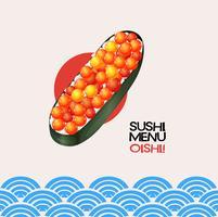Sushi com ovas de peixe no fundo japonês vetor