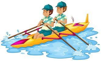 Homem, canoa, branco, fundo vetor