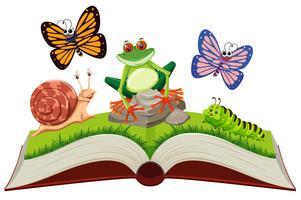 Conjunto de animais em pop-up livro vetor