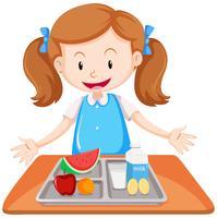 Menina, tendo almoço, ligado, tabela vetor