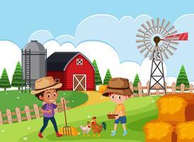 Agricultor em terras agrícolas vetor