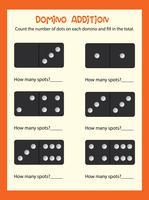 Uma planilha de adição matemática do dominó vetor
