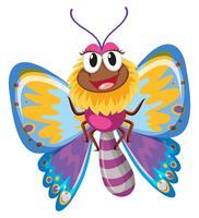 Borboleta fofa com asas coloridas vetor