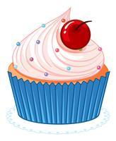 Cupcake bonito dos desenhos animados-de-rosa vetor