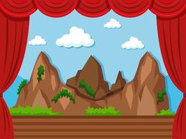 Fundo de palco com montanha e grama vetor