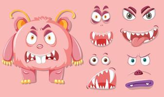 Monsater rosa com diferente expressão facial vetor