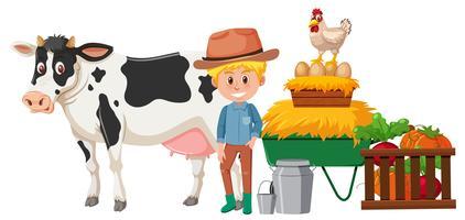 Um agricultor feliz e animal vetor